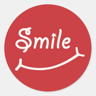 Sorriso no vermelho adesivo
