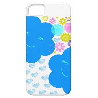 Sorriso, nuvens, corações, flores, azul, rosa, capa barely there para iPhone 5
