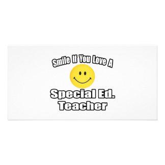 Sorriso se você ama um Ed especial. Professor Cartões Com Fotos Personalizados