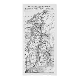 South Eastern & Passumpsic Railroads Antique Map Poster