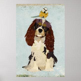 Spaniel de rei Charles & poster pequeno da arte do