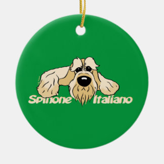 Spinone Italiano cabeça clara Cute Ornamento De Cerâmica Redondo