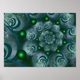 Spiral and Spheres Blue Fractal Pôster