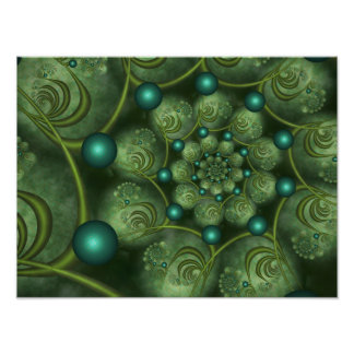Spiral and Spheres Green Fractal Pôster