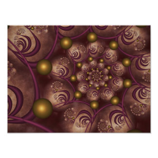 Spiral and Spheres Pink Fractal Pôster