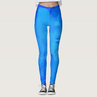 Splatter azul da pintura leggings