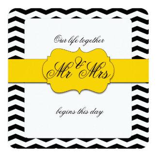 Sr. de Chevron do amarelo amarelo e do preto e Convite Quadrado 13.35 X 13.35cm