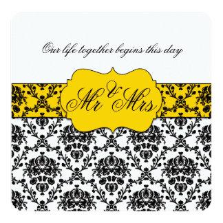 Sr. do damasco do amarelo amarelo e do preto e convite personalizado