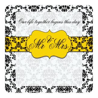 Sr. do damasco do amarelo amarelo e do preto e convite quadrado 13.35 x 13.35cm