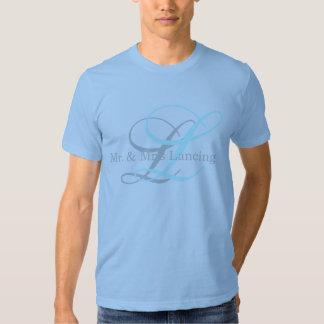 Sr. do monograma & Sra. Camisa para homens Tshirt