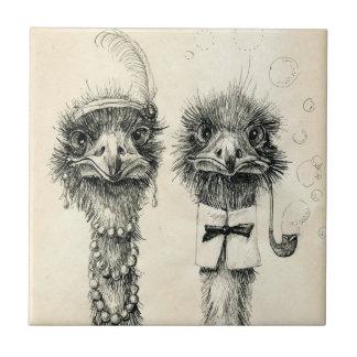 Sr. e Sra. Avestruz Azulejo Quadrado Pequeno
