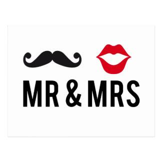 Sr. e Sra., bigode e lábios vermelhos Cartão Postal