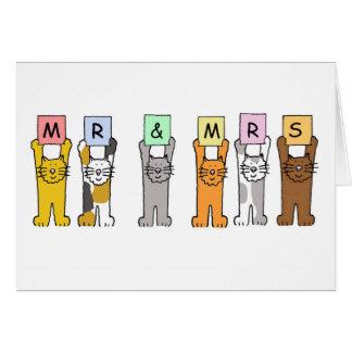 Sr. e Sra. gatos que wedding felicitações Cartão Comemorativo