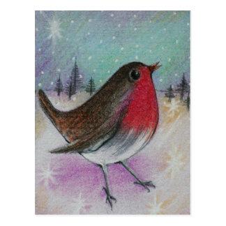 Sr. Natal Pisco de peito vermelho Cartão Postal