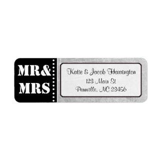 Sr. & Sra. Preto e etiquetas de endereço do