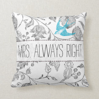 Sra. floral cinzenta Sempre Direito do pássaro do Travesseiro De Decoração