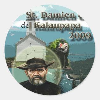 St. Damien de Kalaupapa Adesivos Em Formato Redondos