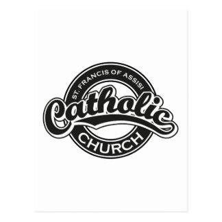 St Francis do branco do preto da igreja Católica Cartão Postal