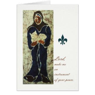 St Francis que guardara um gato, cartão católico d