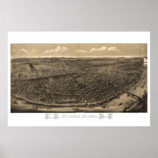 St Louis Mo - Mapa 1859 da vista aérea Pôster