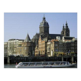 St. Nicolaaskerk e a torre dos rasgos, Amsterdão Cartao Postal