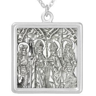 St. Wenceslaus, Adalbert, St. Florian de Stanislau Colar Com Pendente Quadrado