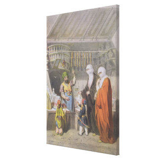Stallholder que vende guloseimas temperadas no Baz Impressão De Canvas Envolvida