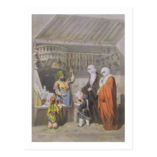 Stallholder que vende guloseimas temperadas no cartão postal