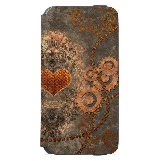 Steampunk, coração maravilhoso feito do metal capa carteira incipio watson™ para iPhone 6