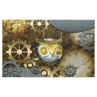 Steampunk, coruja   mecânica impressionante com tecido