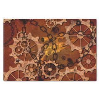 Steampunk, engrenagens no metal oxidado papel de seda