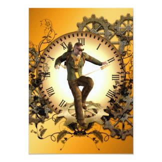 Steampunk, homem em um pulso de disparo com convite 12.7 x 17.78cm