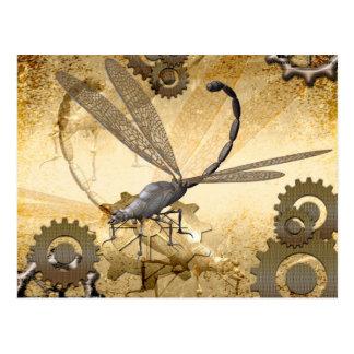 Steampunk, libélulas impressionantes do vapor cartão postal