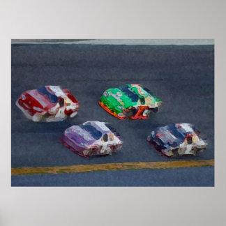Stock car de Pixelated Poster