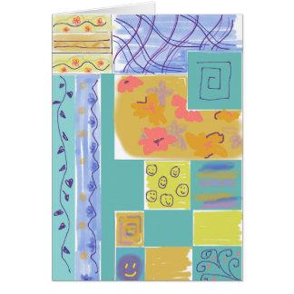 Stripey floral feliz obstrui Notecard Cartão De Nota