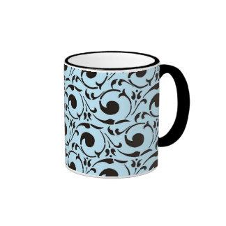 Stylish Damask Blue Black Swirls Pattern Coffee Mug