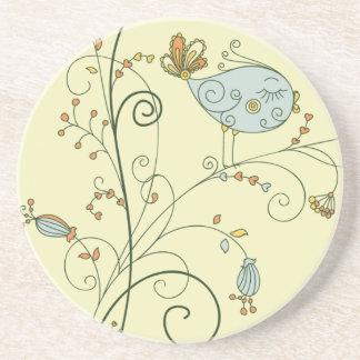 Stylize o Bluebird fêmea em flores de Swirly Porta Copos De Arenito