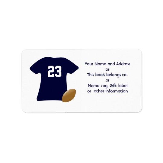 Sua camisa do futebol com etiquetas do futebol etiqueta de endereço