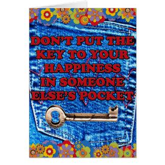 Sua chave à sarja de Nimes do bolso da felicidade Cartao
