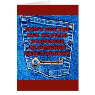 Sua chave à sarja de Nimes do bolso da felicidade Cartões