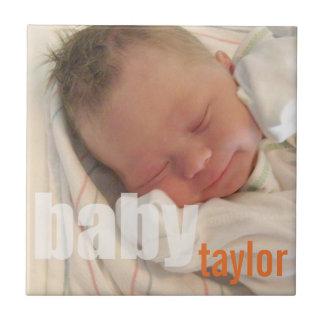 Sua laranja unisex da lembrança da foto do bebê re azulejos de cerâmica