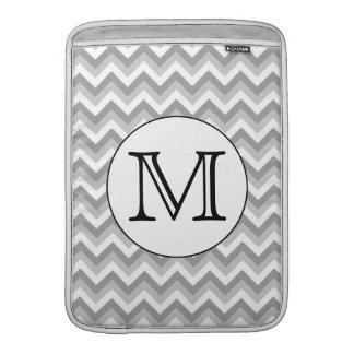 Sua letra. Monograma cinzento do teste padrão de Bolsa De MacBook