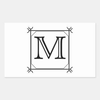 Sua letra. Monograma feito sob encomenda. Preto e Adesivos Em Formato Retangulares
