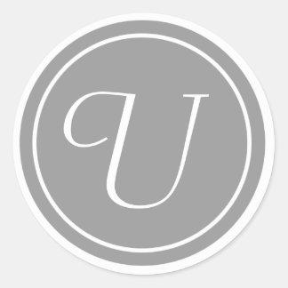 Sua letra, monograma U, cinza inicial Adesivo Redondo