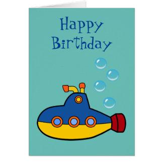 Submarino amarelo e azul do feliz aniversario - do cartão