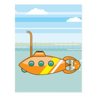 submarino dos desenhos animados cartão postal