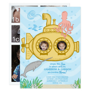 Submarino & mar - convite do aniversário de 3 anos