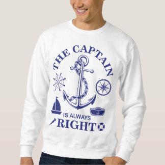 Suéter O capitão é sempre - capitão Engraçado - marinho