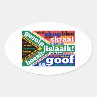 Sul - calão e linguagens cotidianas africanos adesivos em formato ovais