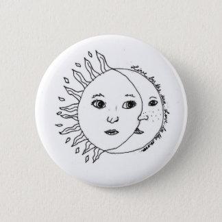 Sun e botão padrão da lua, preto e branco bóton redondo 5.08cm